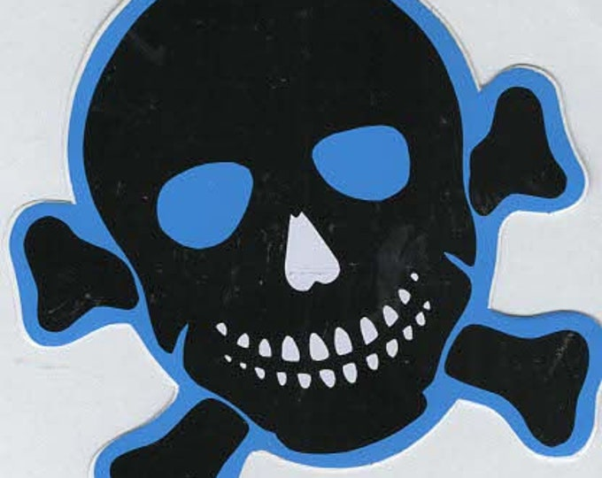 pack of 1 blue skull crossbones stickers 10x10cm approx (as shown) self adhesive fun stickers