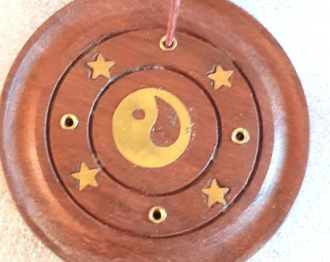 round ying yang yin yan sign insence holder these are made to order  plus 10  mixed sticks or cones for free