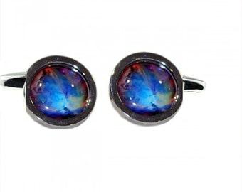 Interstellar Nebula cloud Round Cufflinks, silver cufflinks, in gift box