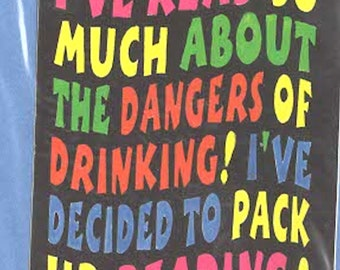 dangers of drinking slapstick funny stickers pack of 1 (as shown) self adhesive fun stickers