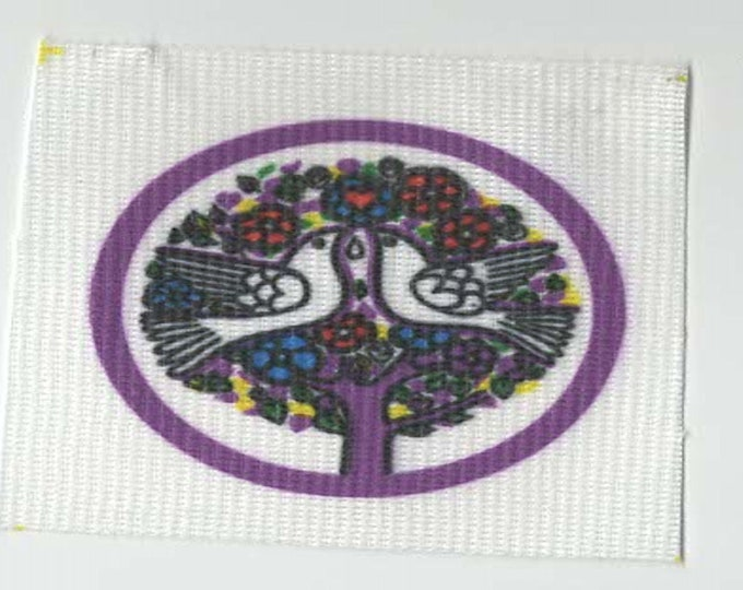 2 doves in tree screenprinted patch ideal for all clothing sew on patch