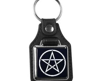 leather keyring, with pentagram, pentacle design handmade in uk from uk