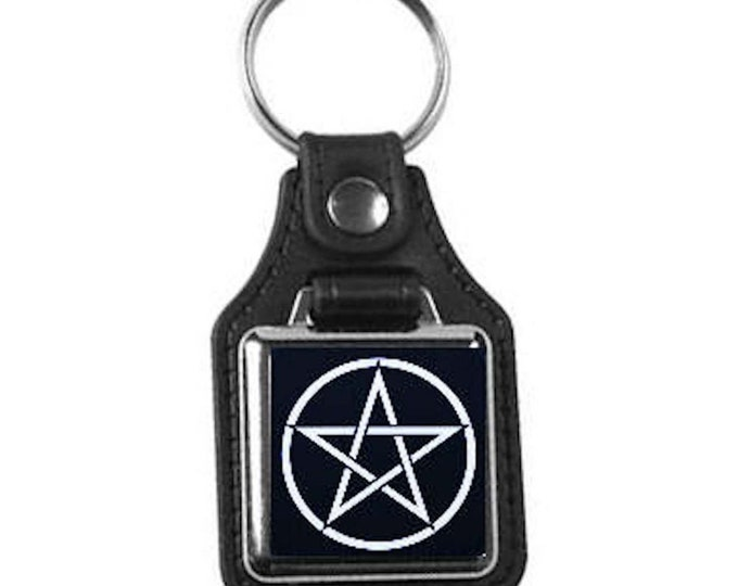 leather keyring, with pentagram, pentacle design handmade in uk from uk