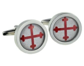 Round Bordered Knights Templar Cross Design Cufflinks in gift box