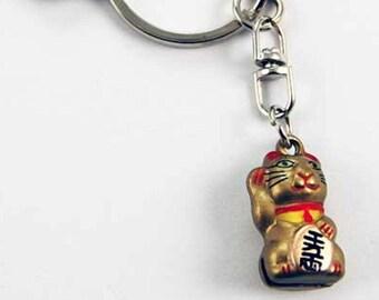 original waving cat design keyring, keyfob, lucky chinese waving cat.