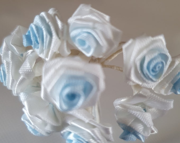 12 l blue and white  flowers ideal for crafts,and decoration