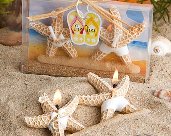 Bathing suit clad starfish candles 1 pair gift boxed