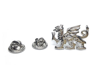 welsh dragon silver Badge / tie pin, Lapel Pin Badge, boxed double pin