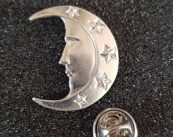 silver plated man in moon with clip on rear Pin ,Badge / tie pin gift boxed