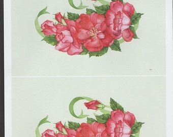 red flowers decoupage sheet high quality printed on quality paper