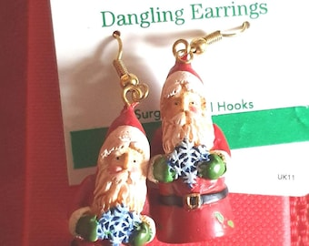 rare xmas russ berrie santa  earrings, ideal gift novelty earrings new vintage