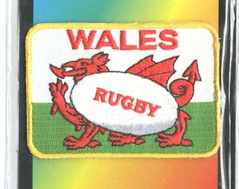 wales red dragon rugby uk embroidered iron / sew on patch