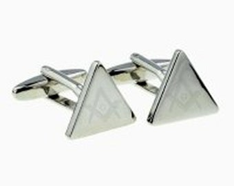 Masonic with g Engraved Triangular Cufflinks cuff links in gift box