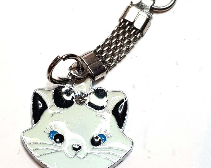 cat keychain keyring keyfob made from metal then enameled and a crystal