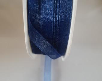 vivant colour-47 royal blue   woven edge organza ribbon 7mm wide sold by the metre