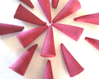 rose scent hand moulded hand mixed cones  20 hand made in uk rose long lasting scent cones