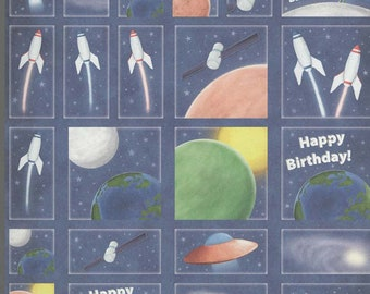 mixed space birthday theme decoupage sheet high quality printed on quality paper ideal cards etc