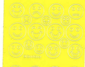 yellow sheet of smiley sad happy faces peel off stickers