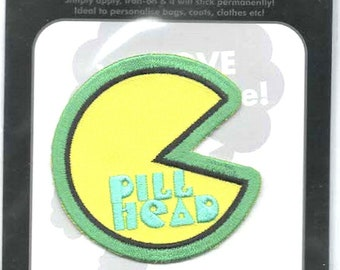 pill head pacman style embroidered iron / sew on patch