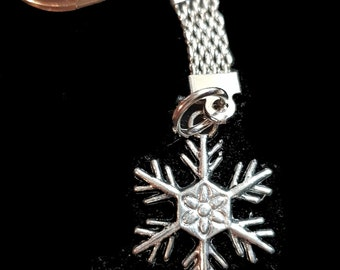 snow  with chainmail keyring  silver keychain keyring christmas theme