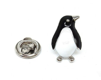 Silver Plated enamel finish penguin Lapel Pin Badge / tie pin. in gift box