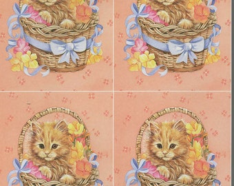 cat in basket 4 on sheet decoupage sheet high quality printed on quality paper ideal cards etc