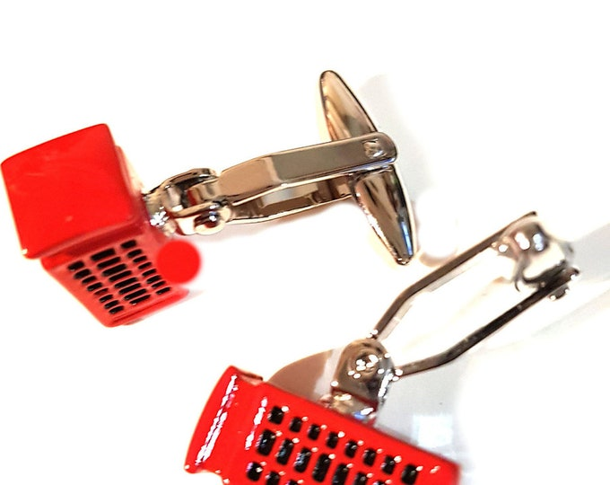 Cufflinks in shape of red british telephone box supplied in gift box