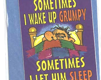 somtimes i wake up grumpy slapstick funny stickers pack of 1 (as shown) self adhesive fun stickers