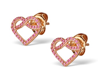 Pink Sapphire 9K Rose Gold Heart Earrings