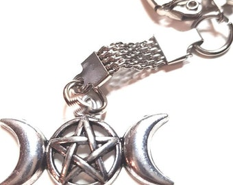 pentacle and reversed moons wicca, pentagram metal keychain keyring