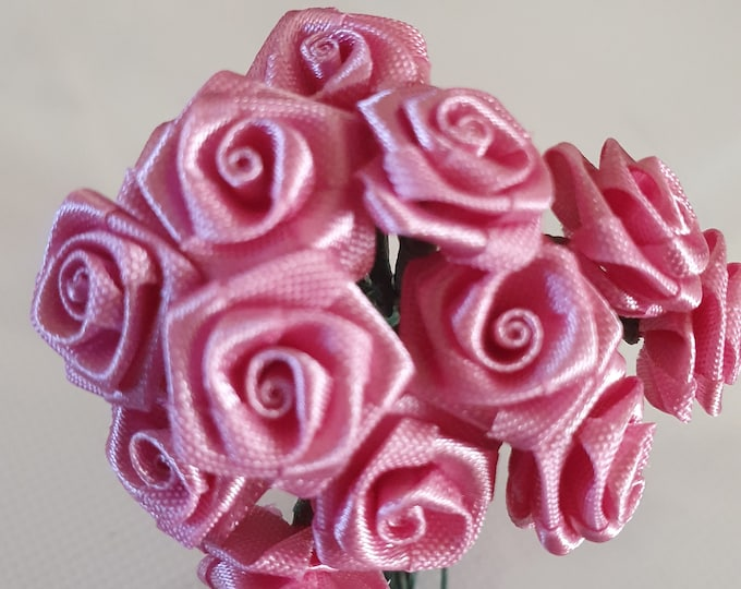 12 deep pink  flowers ideal for crafts,and decoration