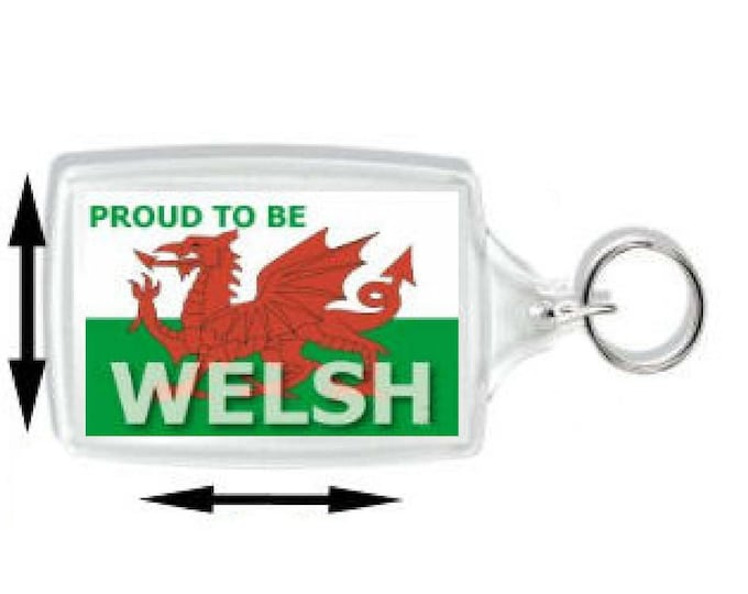 proud to be welsh, wales the red dragon keyring  handmade in uk from uk made parts cymru wales