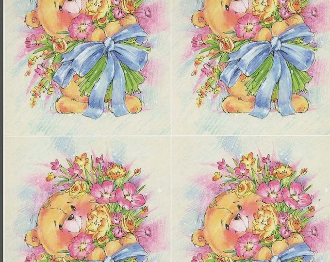 teddy bear with large bunch flowers style decoupage sheet high quality printed