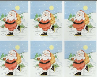 santa skating 6 on sheet decoupage sheet high quality printed on quality paper ideal cards etc