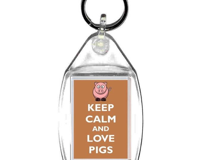 keyring double sided uk, united kingdom pig theme, keychain