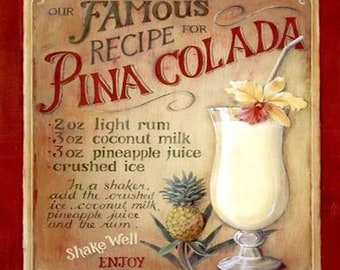 pina colada recipe, coaster, made in uk drinks, plate  etc coaster stock code 30