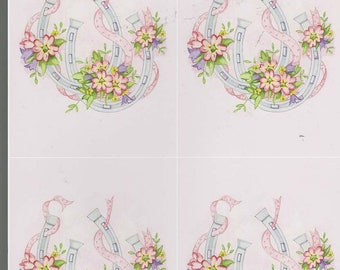 horseshoes wedding theme 4 on sheet decoupage sheet high quality printed on quality paper ideal cards etc