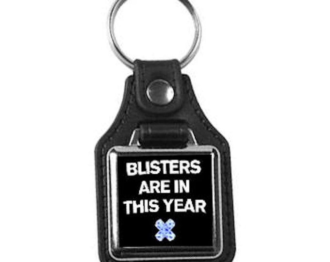 leather and metal keyring, square design ,blisters are in this year