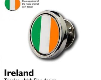 Irish Flag Tricolour Lapel Pin Badge / tie pin. in gift box enamel finish,