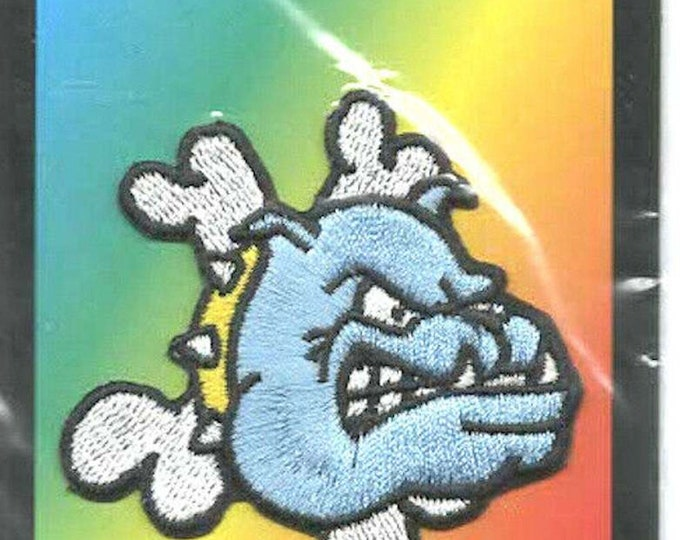 3d bulldog and crossed bones. embroidered iron / sew on patch