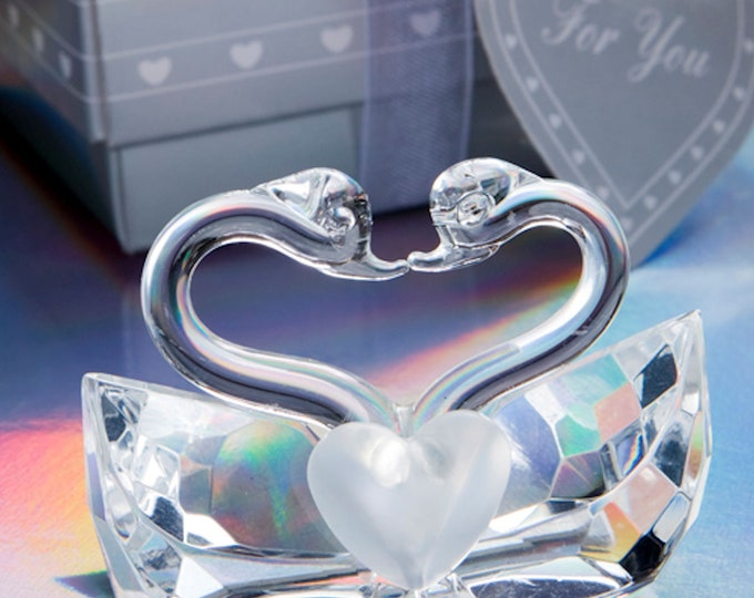 crystal kissing swans, made in uk in gift box