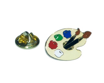 Artists Pallet tie pin, Lapel Pin Badge, in gift box