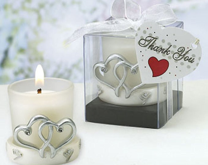 Interlocking Silver Heart Design Candleholders and candle