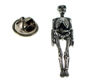 Skeleton british pewter Badge Lapel /tie Pin Badge 3d effect with clip for rear , gift boxed