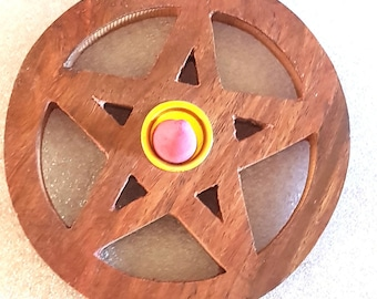 large round pentagram sign insence holder ideal for cones  these are made to order plus 10  mixed sticks or cones for free