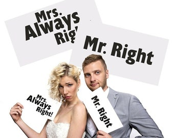 photo props, pack of two, Mr Right Mrs Always Right Photo Prop Cards