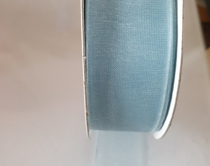 organza woven edge ribbon blue 20mm wide sold by the metre  blue