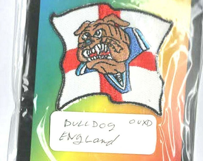 england, st george bulldog embroidered iron / sew on patch