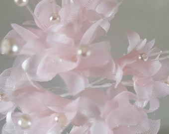 12 whispy pink and pearls  flowers ideal for crafts,and decoration