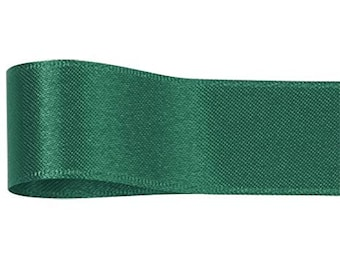 double faced satin green  ribbon 15mm wide sold by the metre